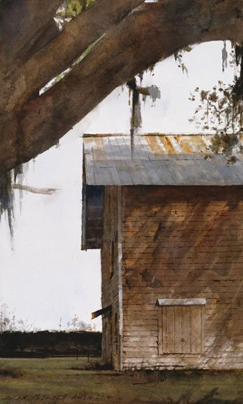 Watercolor artist Dean Mitchell's work. Southern Tobacco Barn by Dean Mitchell, watercolor painting, 15 x 9.