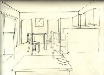 Drawing an interior can prepare you for the same challenges you'll face when figure drawing.