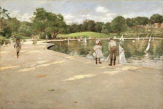 The Lake for Miniature Yachts by William Merritt Chase, c. 1888, oil painting.