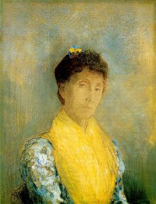 Woman with a Yellow Bodice by Odilon Redon, c. 1899, pastel painting, 66 x 50 cm.