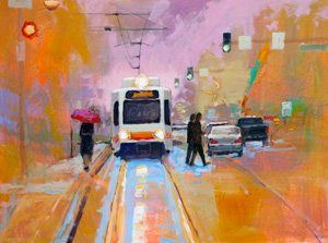 Pastel colors can convey a lightheartedness, as in this acrylic painting by John Harrell, titled Pastel Trolley.