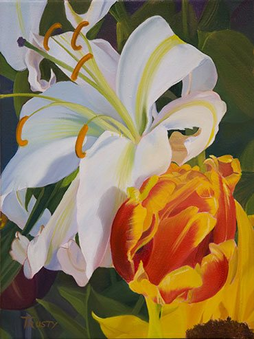 Birthday Bouquet by Ann Trusty, oil painting.