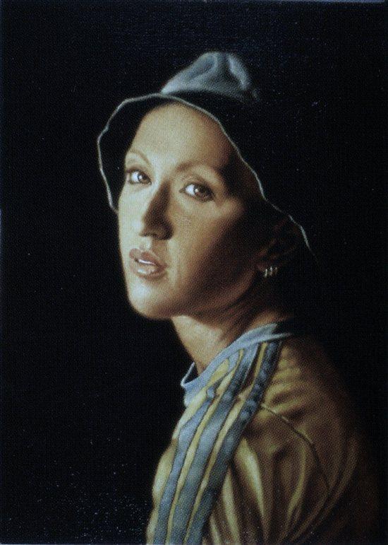 Ragazza con tre oecchini by Valerio D'Ospina, oil on canvas.