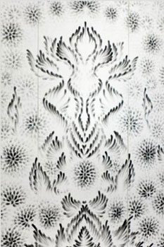 Fingering #9 by Judith Braun, drawn with fingers dipped in charcoal on 3 panels, 80 x 26 each, 2012.
