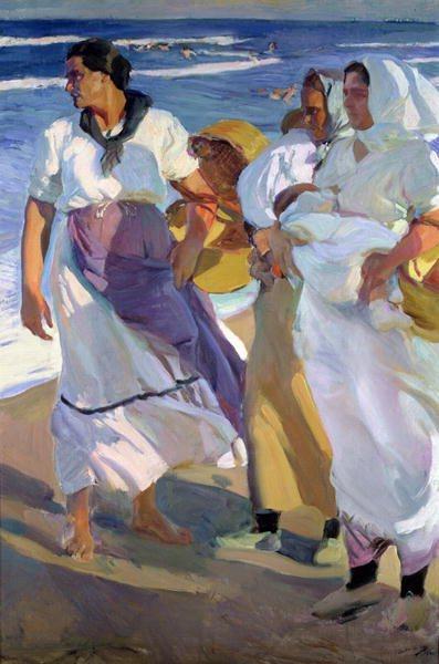 Valencian Fisherwomen by Joaquin Sorolla, oil painting, 1915.