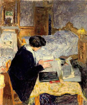 Lucy Hessel Reading by Edouard Vuillard, 1913, oil painting, 39 7/16 x 32 5/8.