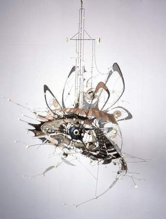 Untitled by Lee Bontecou, 1998, welded steel, porcelain, wire mesh, canvas, and wire, 7 x 8 x 6 ft.
