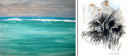 St. Martins by Ellen Maidman-Tanner, 2010, both watercolor paintings.