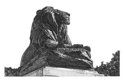 Grant's Lion by Melissa Tubbs, pen-and-ink drawing, 12 x 7.