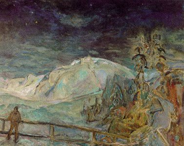 Moonlight at Lynn by F.H. Varley, oil painting, 1933.