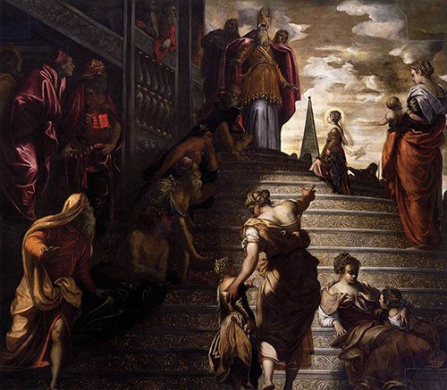 The Presentation of the Virgin by Tintoretto, oil on canvas, 1553-56.