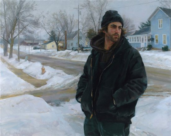 Up the Block by Rose Frantzen, oil painting, 40 x 50.
