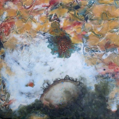 Vanish Into the Vast Sea by Linda Womack, 2010, encaustic mixed media painting, 12 x 12.