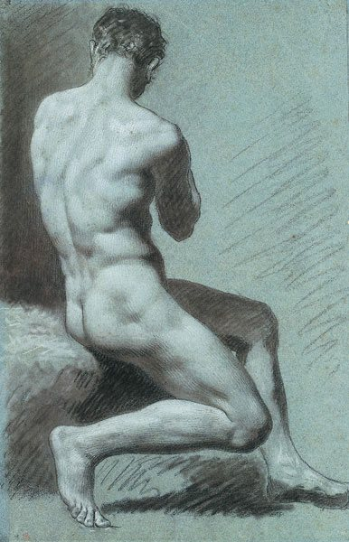 Académie of a Seated Man, Seen From Behind by Prud'hon, black chalk heightened with white on blue paper, 17 3/16 x 11 3/16.