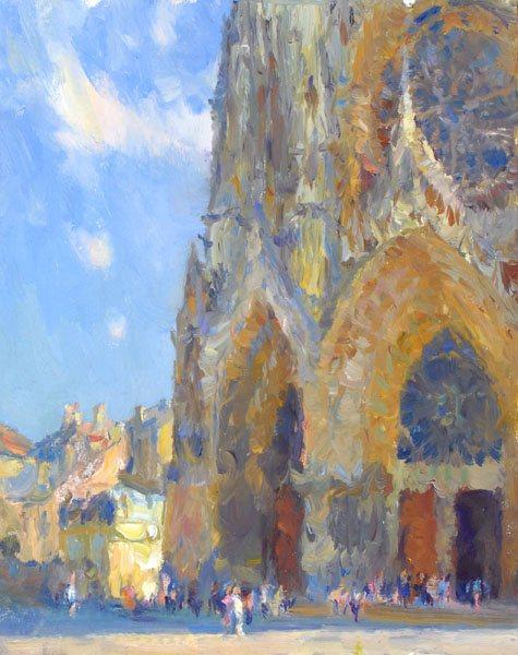 Inspired (Reims Cathedral) oil, 14 x 11. Courtesy Studio Escondido, Taos, New Mexico.