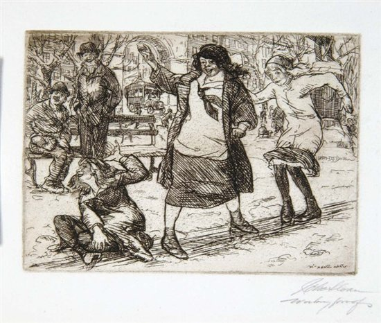 Girls Sliding by John Sloan, drawing
