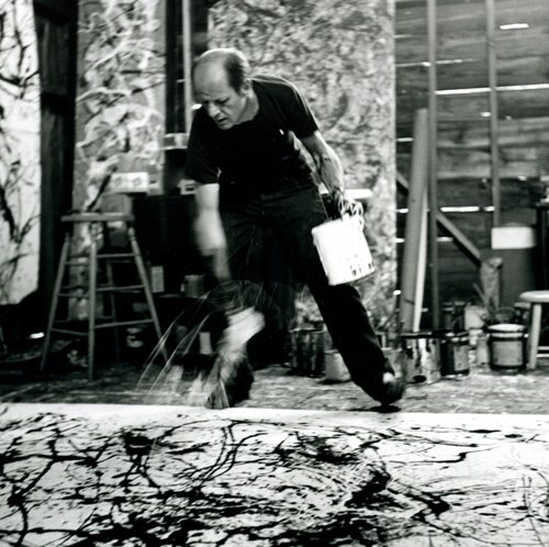 Pollock's painting technique was physical and extremely gestural.