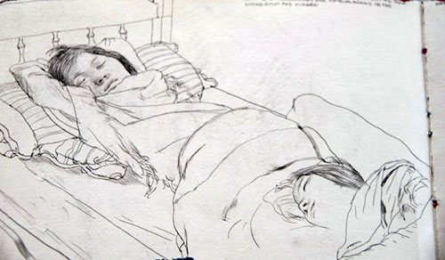 Cheers to the quiet moments at home that artists can capture in a drawing or figure painting. Sketch by James Jean.