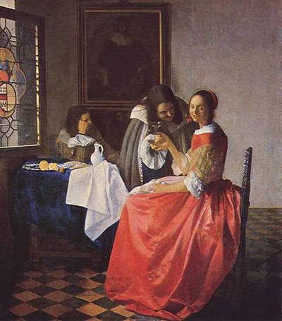 The Girl with the Wineglass by Johannes Vermeer, 1659.