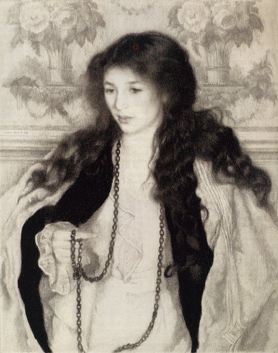 The drama of this charcoal and pencil drawing, Floretta, by Lilian Wescott Hale is in the bold contrast of value of the figure's skin, dress, and hair.