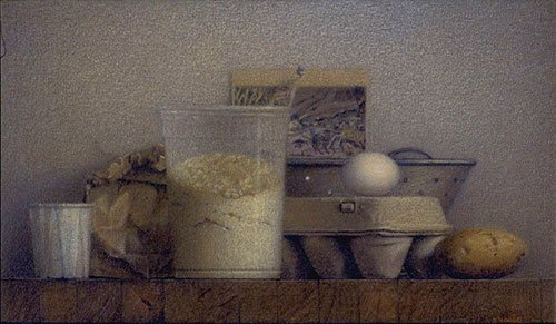 Still Life With Flour 2001, colored pencil and ink wash on canvas, 14 x 20. Private collection.