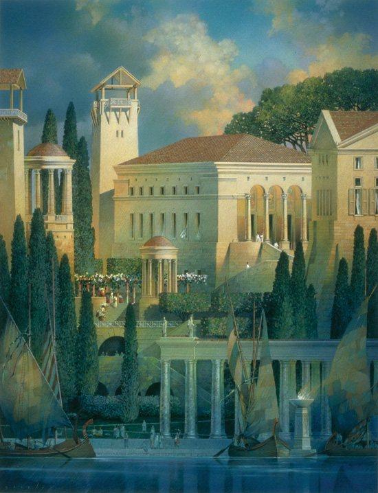 Gil Gorski recreates ancient buildings in his fine-art paintings.