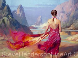 Gallery wrapped paintings look especially fine on larger works, where a frame can be distracting. Cadence, oil painting by Steve Henderson, 30 x 40.