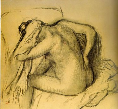 After the Bath, figure drawing by Degas.