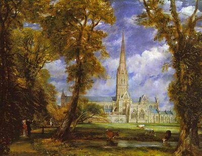 Salisbury Cathedral from Bishop's Ground by John Constable, oil painting, 1823.