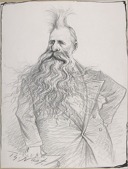 Senator Dolph of Oregon by Thomas Nast, 1894, pencil drawing with ink, 13 1/2 x 10 1/4.