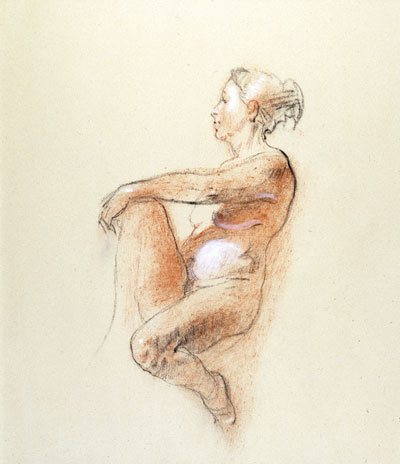 Peggy Holding Her Leg by Sherrie McGraw, charcoal and conte drawing, 17 1/4 x 14 1/2.
