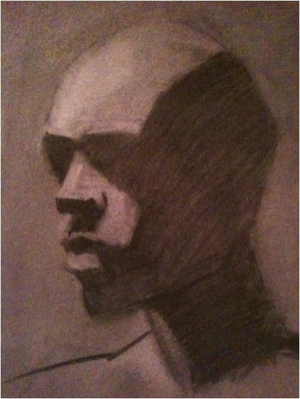 The charcoal drawing using the Studio's method.