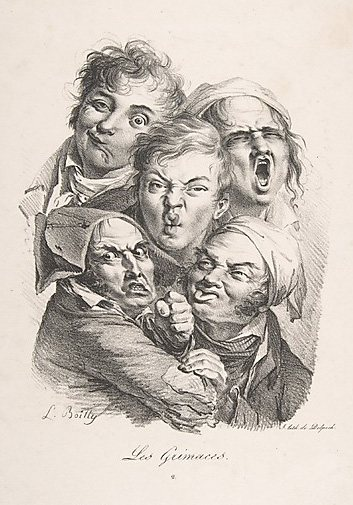 The Grimaces by Louis-Leopold Boilly, 1823, lithograph, 13 1/8 x 10.