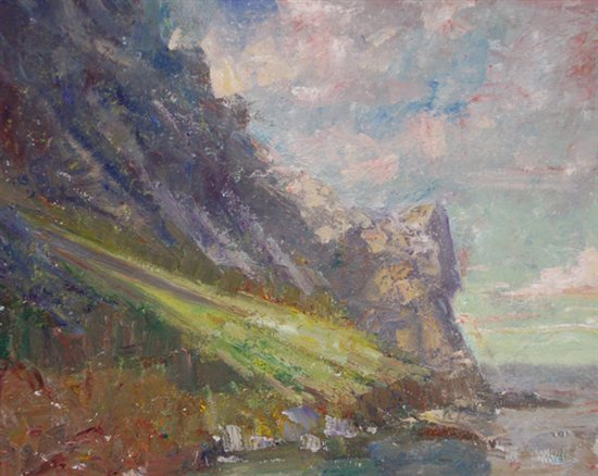 Morro Bay Rock, Near Cambria by C.W. Mundy, oil painting on linen, 16 x 20.