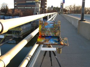 Landscape painting in the urban environs.