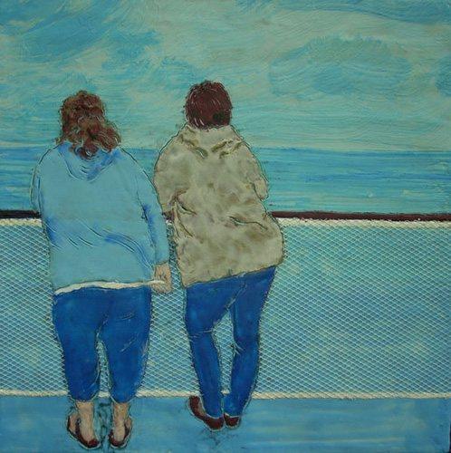 The Crossing by Lauren MacLeod, 2010, encaustic painting, 11.5 x 11.5.