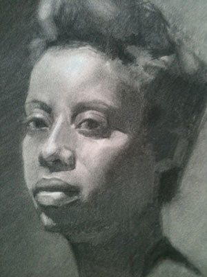 Portrait drawing by Monica Bean, the second stage.