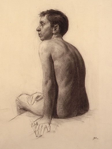 Nude Study by Edward Minoff, 16 x 12, charcoal drawing, 1999.