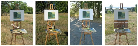 Lighting arrangements in the placement of plein air painting easels and palettes.