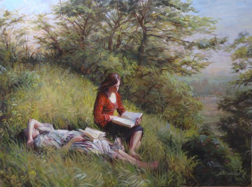 Sometimes we rest, relax and dream--not, however, when we are actively painting. Provincial Afternoon by Steve Henderson, oil painting, 38 x 48, also available in note cards.