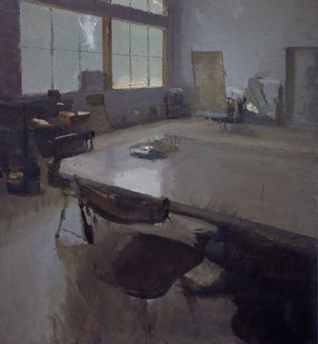 Color Wheel: Alabama studio interior by Peter Van Dyck, 24 x 22, oil painting on board, 2009.