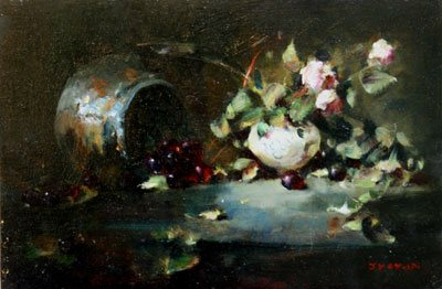 Petit Roses by Jacqueline Kamin, oil paintingon board, 12 x 8.