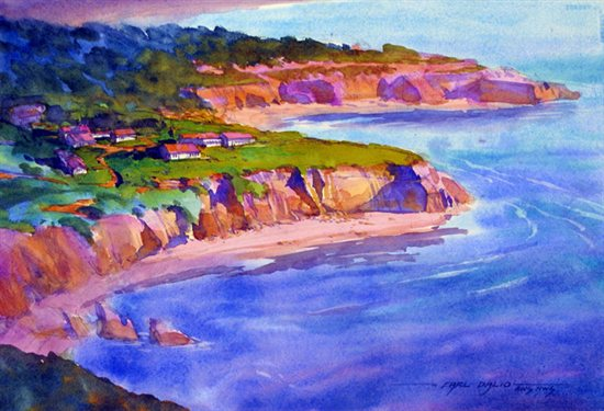 Along the Oregon Coast 2007, watercolor, 14½ x 21½. By Carl Dalio