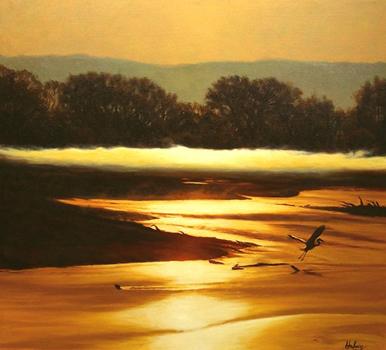 Sunrise River II by John Hulsey, oil on canvas.
