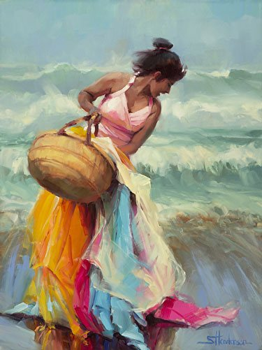 It's one thing dropping fabric from a basket all over the beach; but spattering eggs on the floor is a bit messier. But that's what learning involves -- making mistakes, messing up, and dropping eggs. Brimming Over by Steve Henderson.