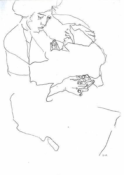 Egon Schiele's contour line drawing, Mother with Child (1910).
