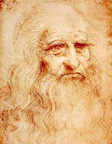 Self-portrait by Leonardo Da Vinci, red chalk drawing, 1510-1515.