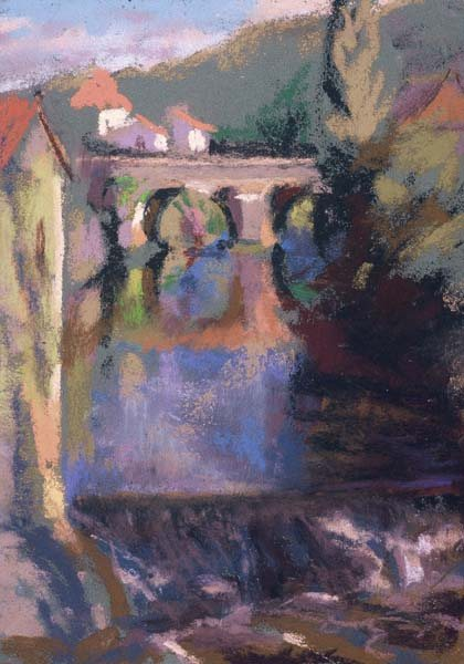 Roman Bridge, Le Quercy by Judith Carducci, 2006, pastel drawing