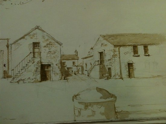 A pen and ink sketch of Robert Liberace's of a town in Northern Ireland.