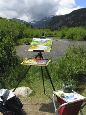 John had to deal with rapidly changing weather conditions as he worked on his plein air watercolor painting, Cub Lake Trailhead.